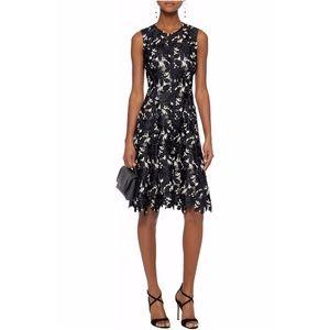 LELA ROSE Black Embroidered Guipure Lace Dress